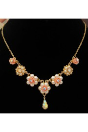 Michal Negrin Gold Plated Crystals Roses Necklace