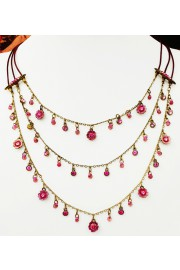 Michal Negrin Pink Layered Crystal Beads Necklace