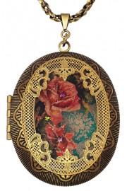 Michal Negrin Vintage Rose Large Filigree Locket Necklace