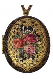 Michal Negrin Roses Large Filigree Locket Necklace