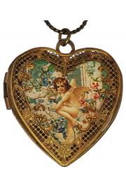 Michal Negrin Baroque Cherub Heart Locket Necklace