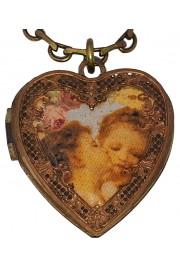 Michal Negrin Cherubs Kiss Heart Locket Necklace