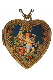 Michal Negrin Victorian Cherub Heart Locket Necklace