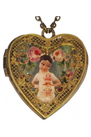 Michal Negrin She-Shy Doll Heart Locket Necklace