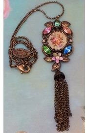 Michal Negrin Multicolor Roses Cameo Tassel Necklace