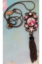 Michal Negrin Pink Peach Roses Cameo Tassel Necklace
