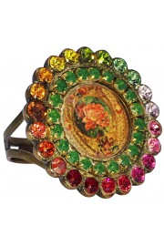 Michal Negrin Multicolor Rose Cameo Round Crystal Ring