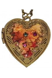 Michal Negrin Vintage Roses Heart Locket Necklace