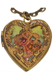 Michal Negrin Victorian Roses Heart Locket Necklace