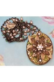Michal Negrin Heirloom Flower Pearls Locket Necklace