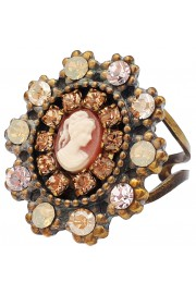 Michal Negrin Peach Crystals Victorian Lady Cameo Ring