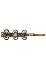 Michal Negrin Bronze Sea Green Crystal Floral Hairpin