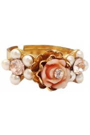Michal Negrin Gold Plated Pearl Peach Rose Ring