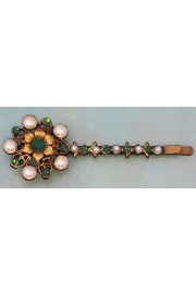 Michal Negrin Pearl Icy Green Crystal Flower Hairpin