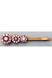 Michal Negrin Pink Peach Crystal Flowers Hairpin