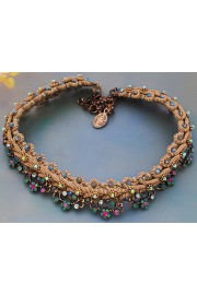 Michal Negrin Crystal Flowers Strand Choker Necklace