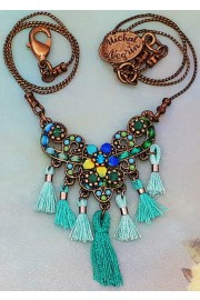 Michal Negrin Turquoise Green Beaded Tassels Necklace