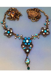 Michal Negrin Green Turquoise Flowers Necklace