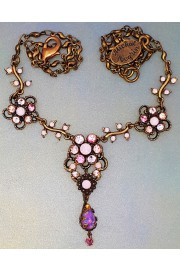 Michal Negrin Pink Marble Flowers Necklace