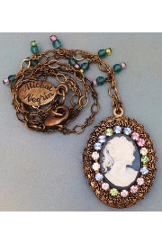 Michal Negrin Pastel Lady Cameo Locket Necklace