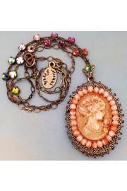 Michal Negrin Vintage Lady Cameo Locket Necklace