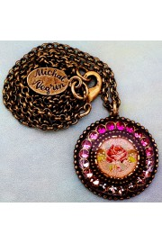 Michal Negrin Pink Rose Round Pendant Necklace