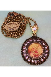 Michal Negrin Lilac Roses Round Pendant Necklace