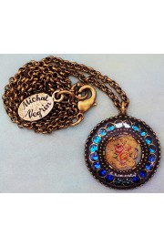 Michal Negrin Blue Turquoise Roses Round Pendant Necklace