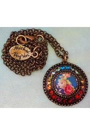 Michal Negrin Multicolor Roses Round Pendant Necklace