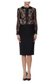 Red Valentino Black Lace Button Up Collar Dress