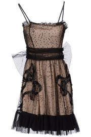 Red Valentino Black Tulle Sequins Dress