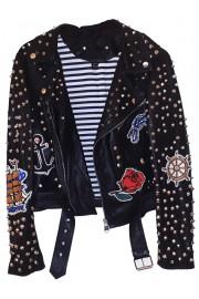 Zara Black Leather Biker Patches Studs Jacket