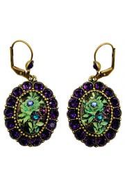 Michal Negrin Purple & Green Rose Relief Earrings